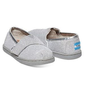 12-18M Toms Silver Alpargata Glimmer Baby Shoes